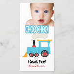 """Choo Choo Train Thank You Photo Cards<br><div class=""""desc"""">The perfect thank you card for a Train Themed Birthday Party. Text can be changed as to color, size, wording or font except for Choo Choo. Background color can be changed if desired. Need help with customization? Send me a message and I&#39;ll be happy to assist. Created with original artwork...</div>"""