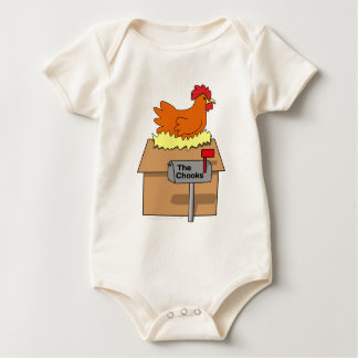 Chook House Funny Chicken on House Cartoon Baby Bodysuit