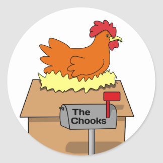 Chook House Funny Chicken on House Cartoon Classic Round Sticker