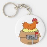 Chook House Funny Chicken on House Cartoon Key Chains