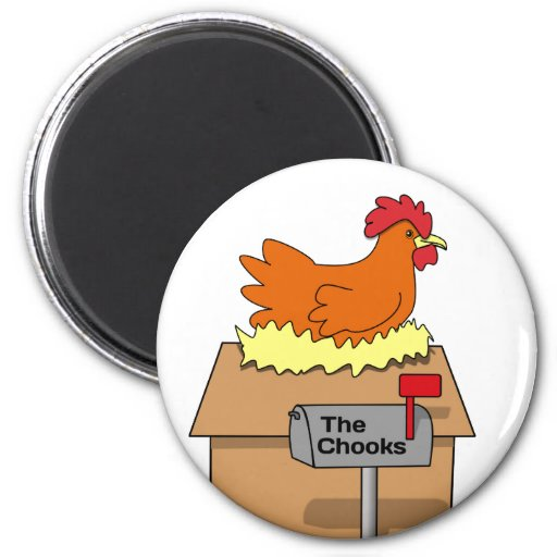 Chook House Funny Chicken on House Cartoon 2 Inch Round Magnet