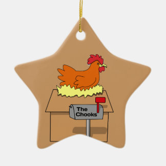 Chook House Funny Chicken on House Cartoon Double-Sided Star Ceramic Christmas Ornament