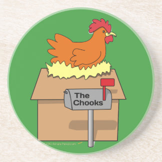 Chook House Funny Chicken on House Cartoon Sandstone Coaster