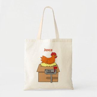 Chook House Funny Chicken on House Cartoon Tote Bag
