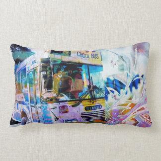 Chool School bus San Francisco streets graffiti Lumbar Pillow