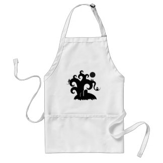 choose-a-background black spooky tree illustration adult apron