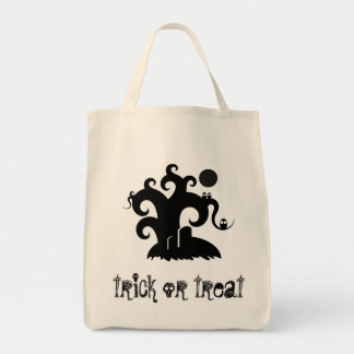 choose-a-background black spooky tree illustration grocery tote bag