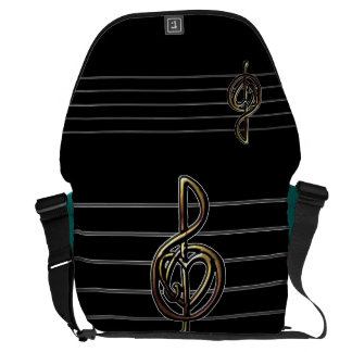 Choose a Color Embossed Look Treble Clef and Hear Courier Bag
