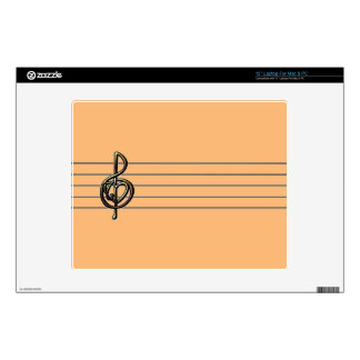 "Choose a Color Embossed Look Treble Clef and Hear Decal For 12"" Laptop"