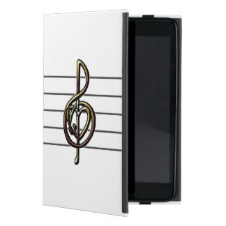 Choose a Color Embossed Look Treble Clef and Hear iPad Mini Cover