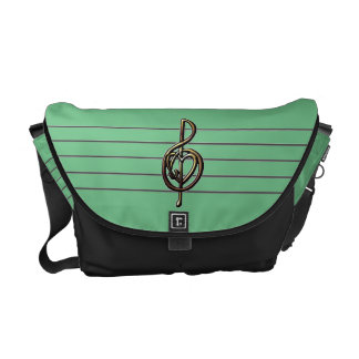 Choose a Color Embossed Look Treble Clef and Hear Messenger Bag