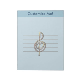 Choose a Color Embossed Look Treble Clef and Hear Notepad