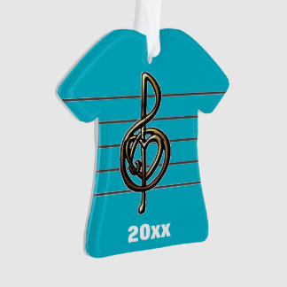 Choose a Color Embossed Look Treble Clef and Hear Ornament