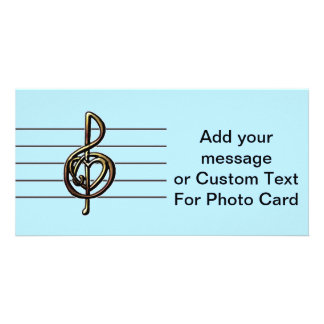 Choose a Color Embossed Look Treble Clef and Hear Photo Card