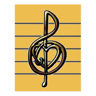 Choose a Color Embossed Look Treble Clef and Hear Postcard