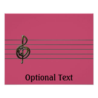 Choose a Color Embossed Look Treble Clef and Hear Poster