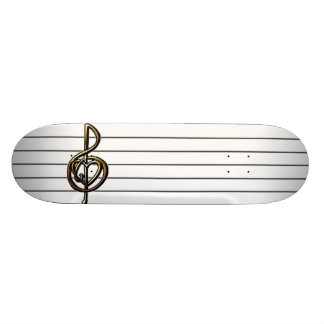 Choose a Color Embossed Look Treble Clef and Hear Skateboard Deck