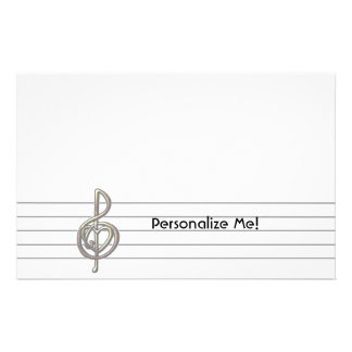 Choose a Color Embossed Look Treble Clef and Hear Stationery