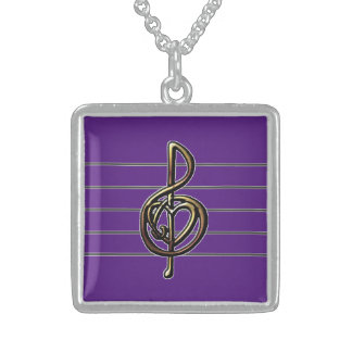 Choose a Color Embossed Look Treble Clef and Hear Sterling Silver Necklace