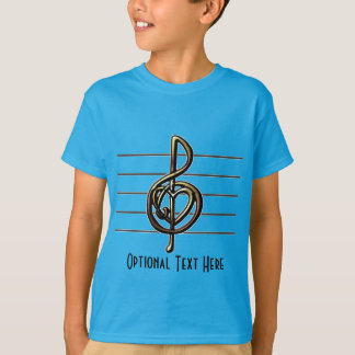 Choose a Color Embossed Look Treble Clef and Hear T-Shirt