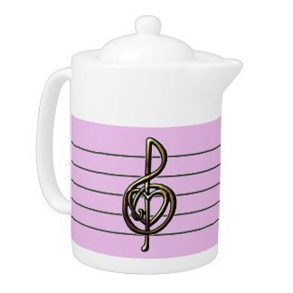 Choose a Color Embossed Look Treble Clef and Hear Teapot
