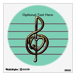 Choose a Color Embossed Look Treble Clef and Hear Wall Decal