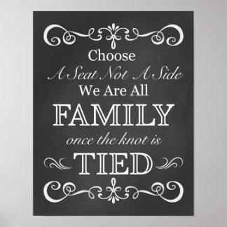 Choose A Seat Not A Side Chalkboard Wedding Sign