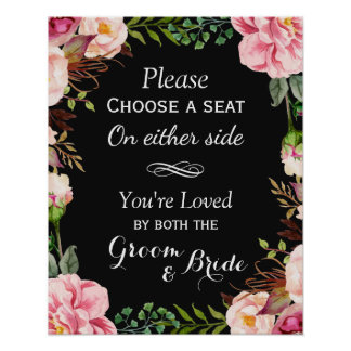Choose a Seat Not a Side | Pink Floral Wreath Poster