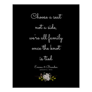 Choose a Seat, Not a Side Wedding Ceremony Sign