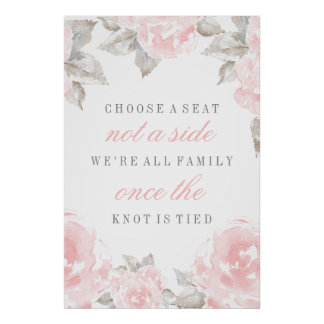Choose a Seat Poster | Watercolor Roses