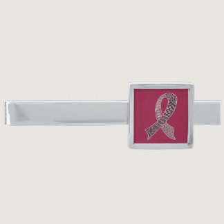 Choose Any Color Cancer Disease Awareness Ribbon Silver Finish Tie Bar