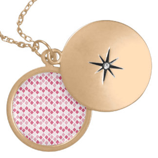 Choose Any Color Harlequin Diamonds Pattern Locket Necklace