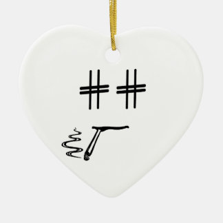 CHOOSE ANY COLOR # Hashtag Dude Smiley Face Ceramic Ornament