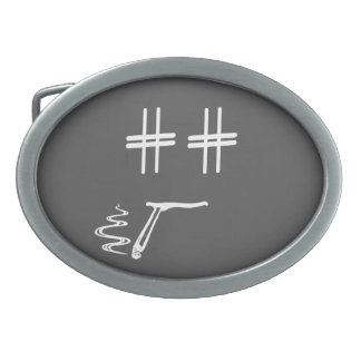 CHOOSE ANY COLOR # Hashtag Dude Smiley Face Oval Belt Buckle