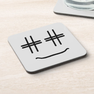CHOOSE ANY COLOR # Hashtag Smiley Face Cute Beverage Coaster