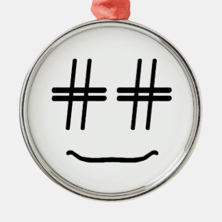 CHOOSE ANY COLOR # Hashtag Smiley Face Cute Metal Ornament