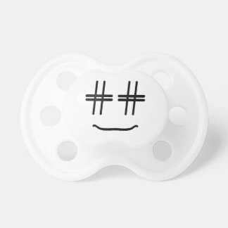 CHOOSE ANY COLOR # Hashtag Smiley Face Cute Pacifier