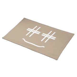 CHOOSE ANY COLOR # Hashtag Smiley Face Cute Placemat