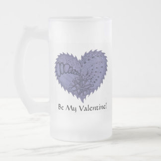 Choose Any Color Spiky Edgy Fire Love Heart Frosted Glass Beer Mug