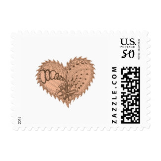Choose Any Color Spiky Edgy Fire Love Heart Postage
