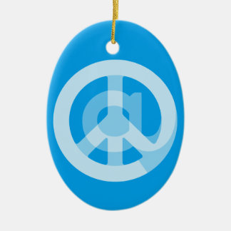 CHOOSE ANY CUSTOM COLOR @ Peace Sign Personalized Ceramic Ornament