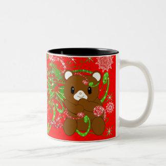 Choose background color -Merry Christmas Bear Two-Tone Coffee Mug
