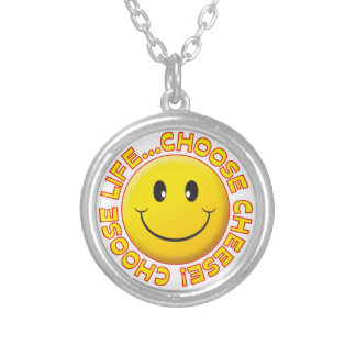 Choose Cheese Smiley Round Pendant Necklace