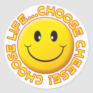Choose Cheese Smiley Round Stickers