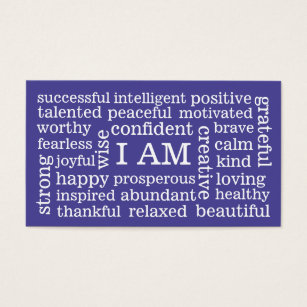 Mental health business cards templates zazzle choose color daily positive affirmations i am business card colourmoves