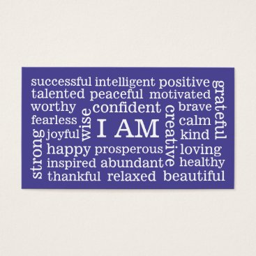 EatGreenFood Choose Color Daily Positive Affirmations I AM Business Card