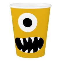 Choose Color Kids Silly Monster Face Yellow Party Paper Cup