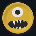 "Choose Color Kids Silly Monster Face Yellow Party Paper Plate<br><div class=""desc"">Choice of Color Kids Monster Face Kids Yellow Party Paper Plates. Customize to change yellow background to any other color monster face. One eyed sharp toothed monster silly face on the front of these fun plates. Kids monster party themed party supplies and treats.</div>"