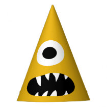 Choose Color Kids Silly Monster Face Yellow Party Party Hat
