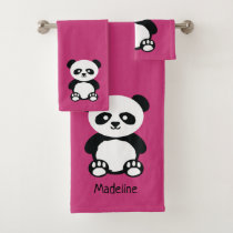 Choose Color Panda Bear Face Pattern Pink Kawaii Bath Towel Set